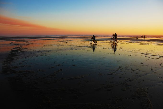 Bikes on the Beach at Sunset by melsteinberg - People In Large Areas Photo Contest