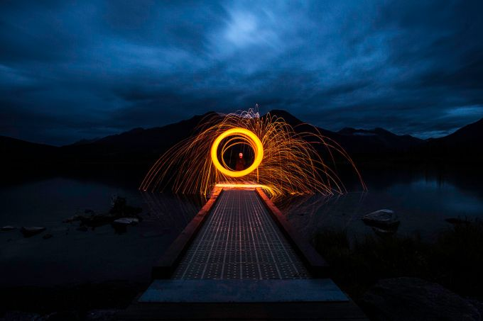 spinning sparks at lake vermillion, banff, alberta by godriguez - Composing With Circles Photo Contest