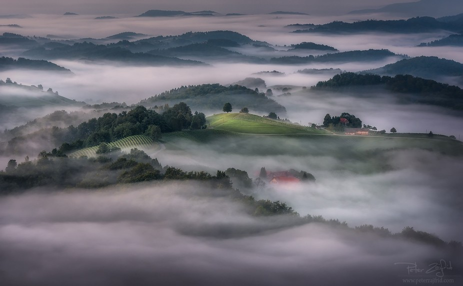 Foggy morning from Plač Tower, Slovenia