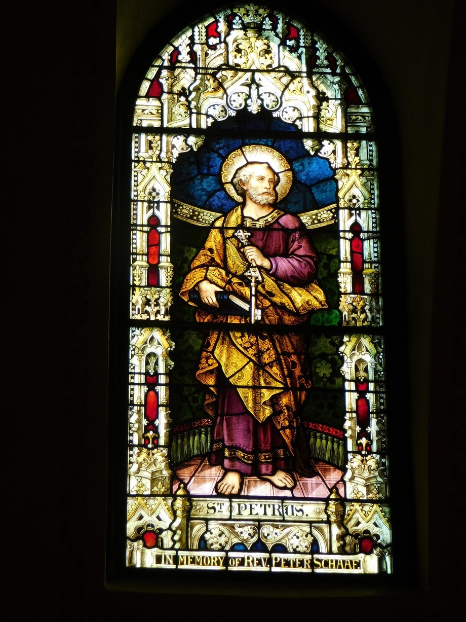One of two windows in Sts Peter & Paul Church, Lehighton, by Tiffany.  St. Peter.