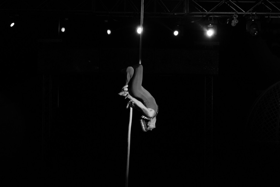 This was a shot taken of a dancer midroutine at a circus.