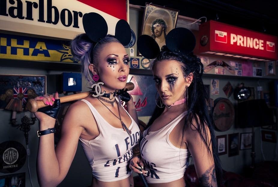 Kickass models Vixen van der Zee and Veronica Löfdahl owning this frame. Attitude in abundance a...