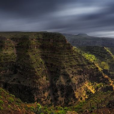 "View from the plateau ""la Merica"" into the canyon of ""Valle Gran Rey""  ( La Gomera, Canary Island.)"