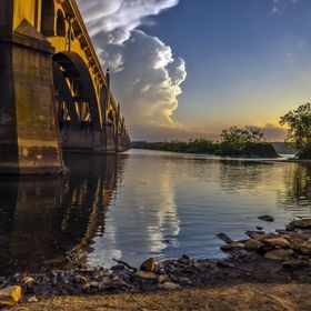 Bridge over the Susquehanna River at Columbia, Pennsylvania as a storm front moves out of the ares