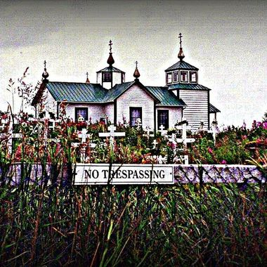 Passed this Orthodox church in Ninilchik, Alaska on my way to Homer. I thought the sign was funny for a cemetery...