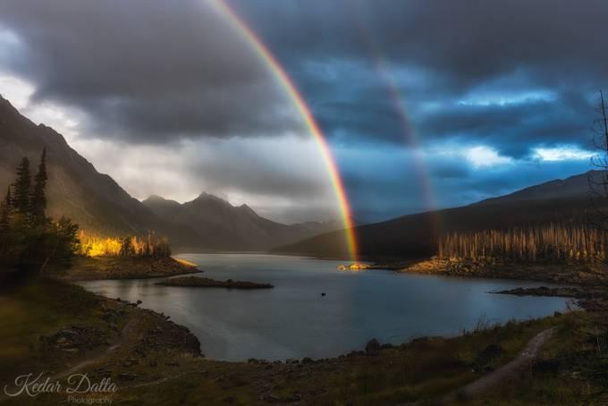 Double rainbow on Medicine Lake by kedardatta - Canada Photo Contest