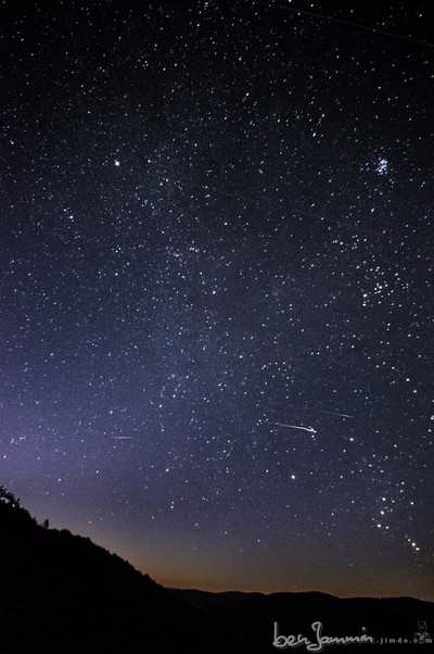 Night sky with some few meteors of the Perseids shortly before dawn