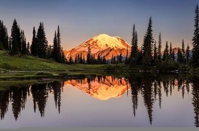 Mount Rainier reflection from Tipsoo Lake at Sunrise.