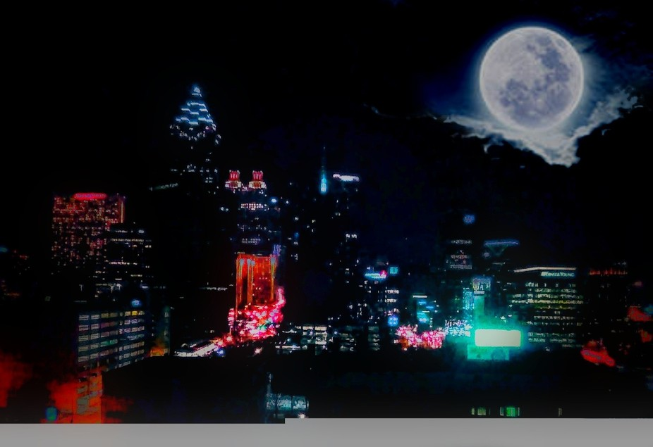 Atlanta skyline full moon