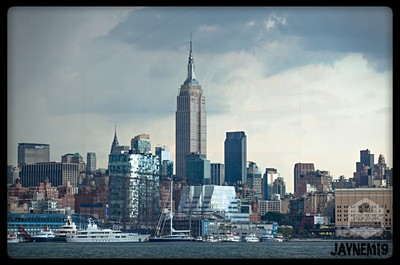 The Empire State over Chelsea Piers