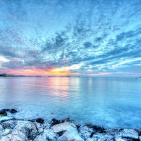 Different take on the usual red sunset, taken in Ibiza with a wide angle lens. Cool blue colouring for a different style.