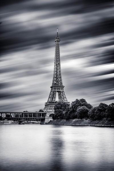 Eiffel Tower at Paris in B-W ...