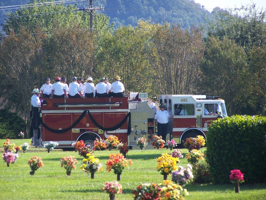Solumn moment for the firefighters