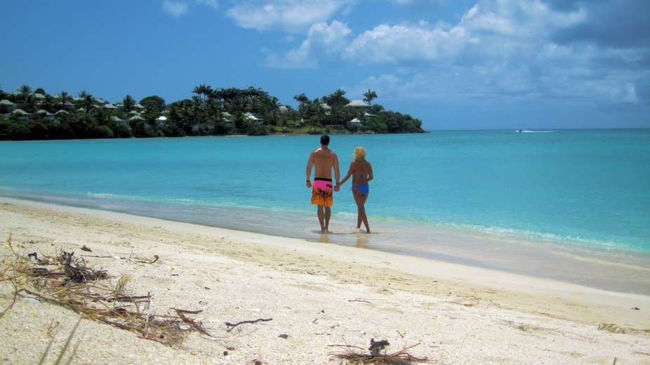 walking down the beach in Antigua with my gf