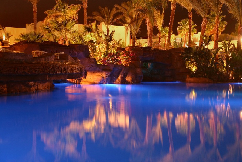 The pool of the Hotel Sierra in Sharm El Sheikh, Egypt, at night. No flash used. Date: August 29t...