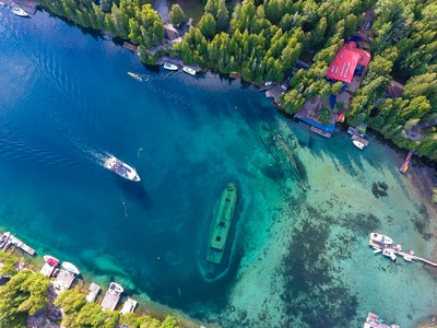 Drone shot of the Shipwrecks in Tobermory, Ontario.