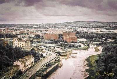 Antique film Bristol from bridge
