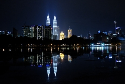 Twin Towers over the lake