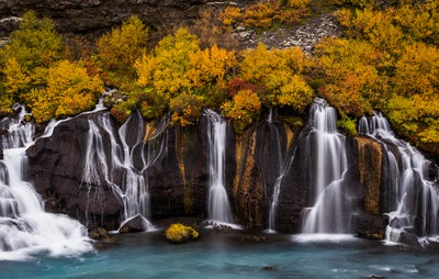 The colorful waterfall