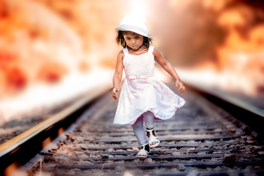 Kid playing on the track ..