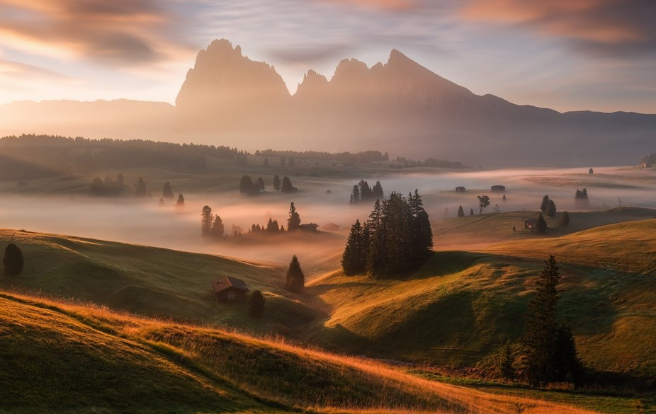 The Seiser Alm is Europe's largest high alpine plateau, located in Italy's Dolo...