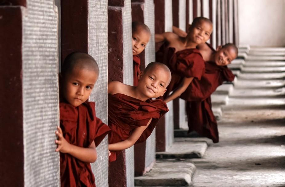 Little buddhist monks playing