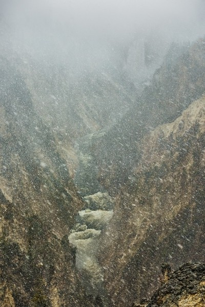 Grand Canyon of the Yellowstone during snowfall blizzard