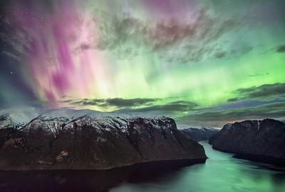 Aurora Boreallis over the Aurlandsfjord