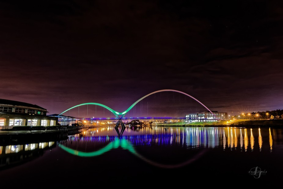 This shot of the Infinity bridge at Stockon on Tees Uk can only be captured  in the first couple of minutes of the bridge being lit up as the lighting warms up
