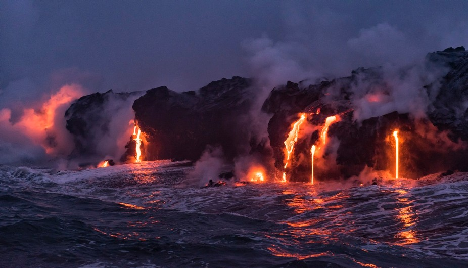 A photo of the amazing lava flow from the Kilauea Volcano on the big island of Hawaii. Photograph...