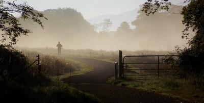 Misty morning jog