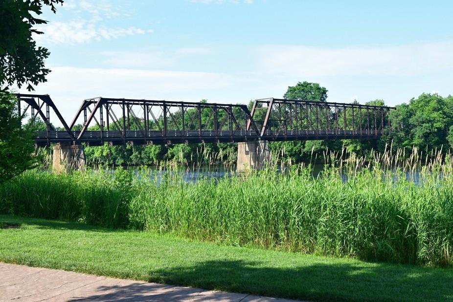 Walking trail bridge leading to Phoenix Park in Eau Claire Wi