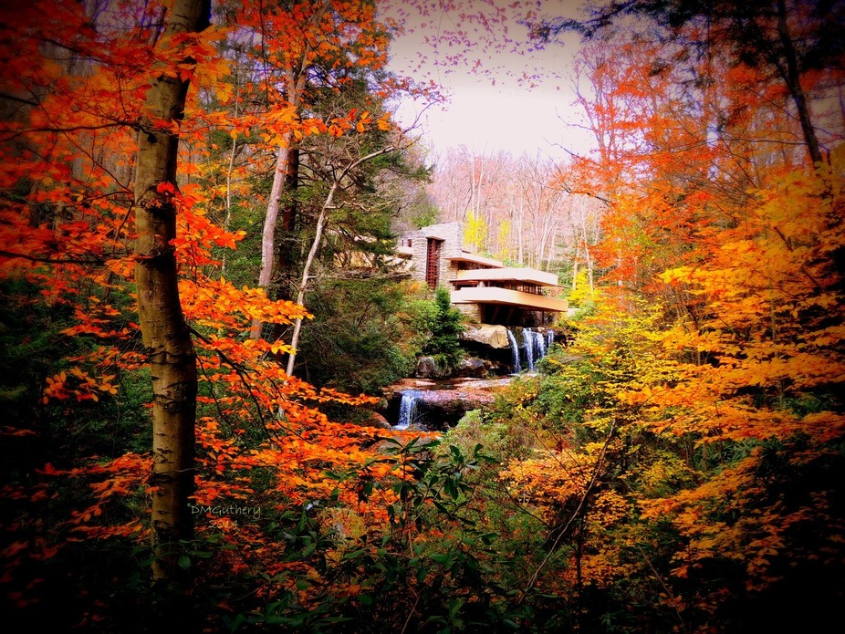 Frank Lloyd Wright's Falling Water in southwestern Pennsylvania is beautiful in any seas...