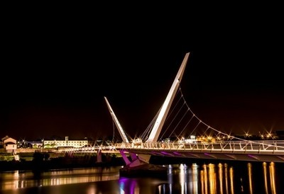 Peace Bridge and Ebrington Barracks Derry-Londonderry