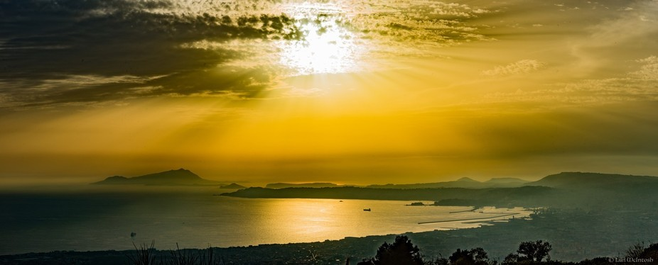 Sunset over the Bay of Naples taken from the top of Mount Vesuvius.