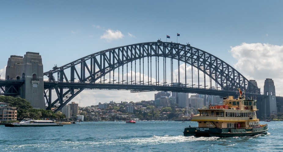First day in Sydney about noon. Shot from near the Opera House.