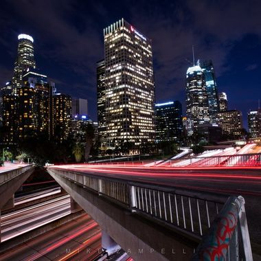 Los Angeles at night.  Time exposure from 4th st. bridge over the 110 freeway.