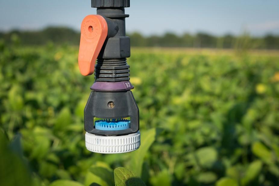 A sprinkler head in a soy bean field