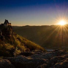 Sunset at the Castle Aggstein in the Wachau of Lower Austria