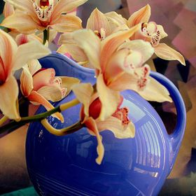 This is a Harlequin Mauve Blue pitcher, vintage '30's with an unknown peach colored Cymbidium and a spray painted on paper background. I work...