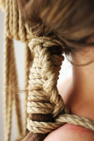 jute rope hair tie
