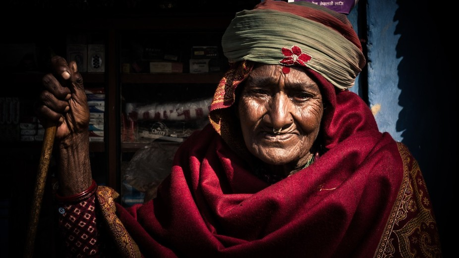 During a hike in Nepal meet this women and relatives ; they accepted i took the photo . She s bli...