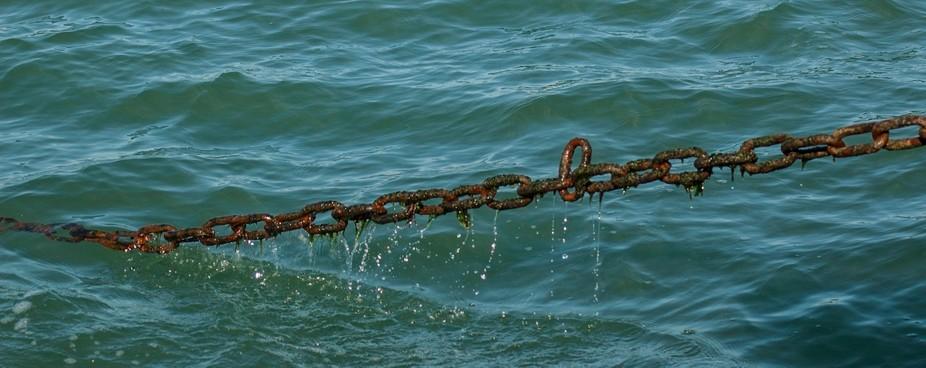 Anchor chain of Alum bay needles boat mooring
