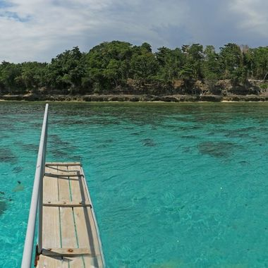 this spot off island Samal is called the swimming pool due to colour of water at this spot