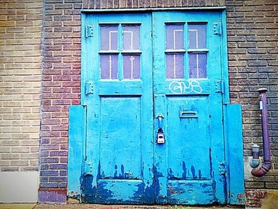 Blue, Rustic, Industrial Doors