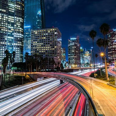 Time exposure in Downtown Los Angeles.  Everyone hits the 4th st. bridge so this one is a little different from the 6th st. bridge.