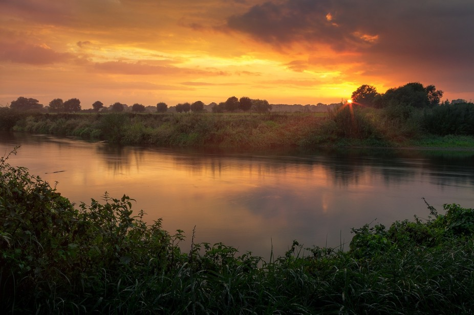 "What a wonderful sunset at the river ""Leine"" which flows close to my village..."