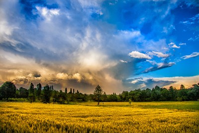 Stormy clouds over rural landscape