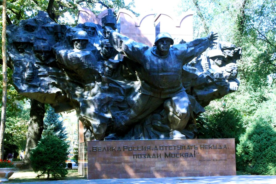 The Panfilov Heroes, 28 soldiers of an Almaty infantry unit who died fighting off Nazi tanks in a village outside Moscow in 1941.   They are commemorated at the fearsome war memorial east of the Zenkov cathedral, which depicts soldiers from all 15 Soviet republics bursting out of a map of the USSR. An eternal flame honouring the fallen of 191720 (the Civil War) and 194145 (WWII) flickers in front of the giant black monument.