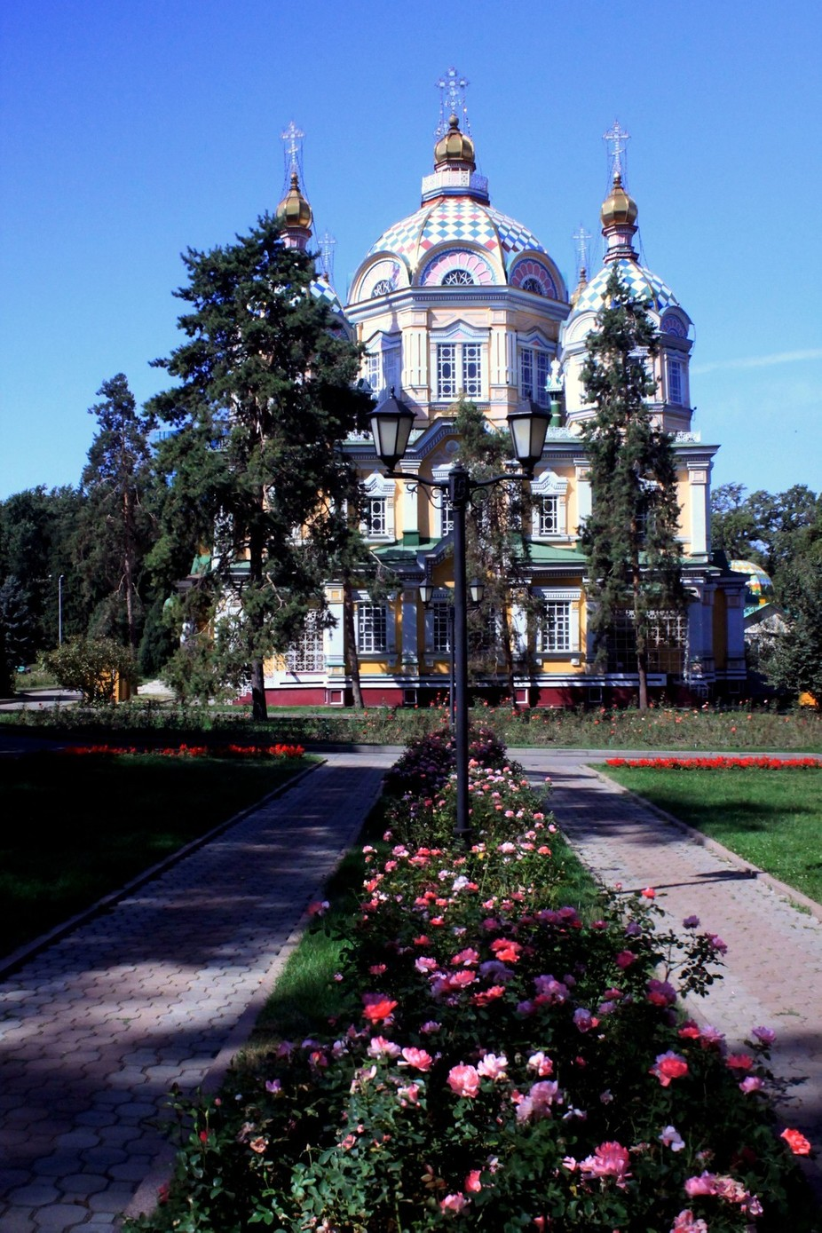 Panfilov park, Zenkov Cathedral, Kazakhstan's nearest (albeit distant) relative to St Basils Cathedral and one of Almatys few surviving tsarist-era buildings. Designed by AP Zenkov in 1904, the cathedral is built entirely of wood (including the nails)